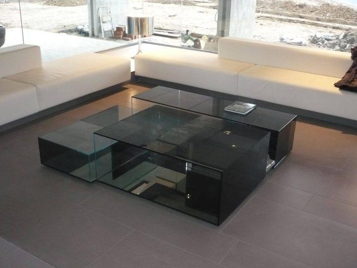tavolino in vetro fumè temperato incollato