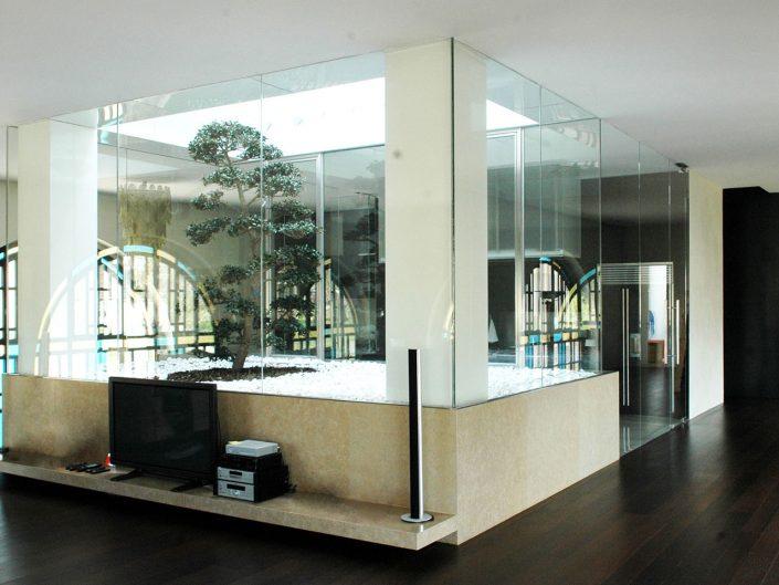 pareti in vetro extra chiaro per bonsai