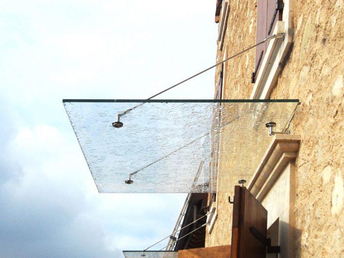 tettoia in vetro temperato